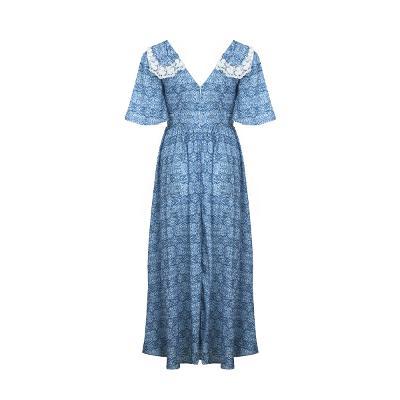 big button collar long dress blue